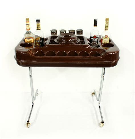 1970s Home Bar by 1970s Space Age Italian Orynx Brown Bar Cart Version