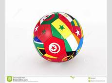 Soccer Ball With Flags Of The African Countries Stock