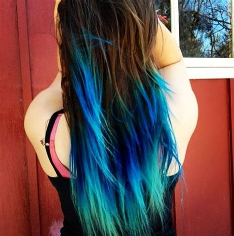 Diy Turquoise Teal Blue Ombre Hair Dye For Brown Layered
