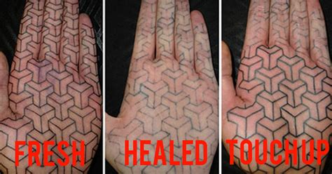 healing palm tattoo tattoos healed heal hand finger fade poorly text why bme before fresh tell matt artists bad ink