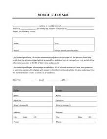 Bill Of Sale Template by Vehicle Bill Of Sale Freewordtemplates