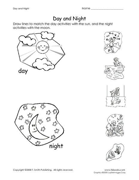 daytime and nighttime activities worksheets for kindergarten day and worksheet lesson planet day