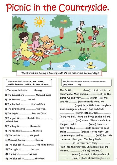 picnic   countryside english lessons  kids
