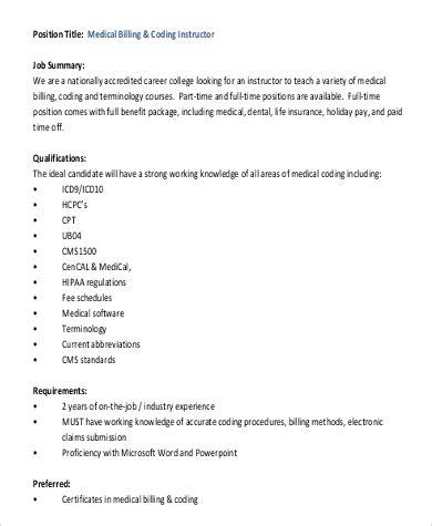 sample medical billing  coding job descriptions  ms word