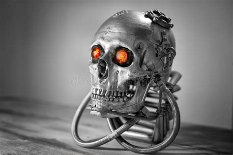 Skull Of A Human Size Robot Stock Photo