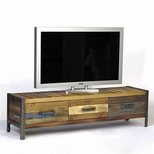 Meuble Tv Bois : meuble tv industriel bois de bateau recycl pas cher en vente chez origin 39 s meubles ~ Teatrodelosmanantiales.com Idées de Décoration
