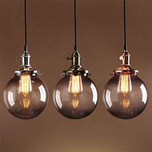 Glass ceiling light vintage : Details about deco sphere pendant lamp gray glass globe