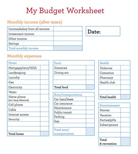 8+ Sample Budget Worksheets  Sample Templates
