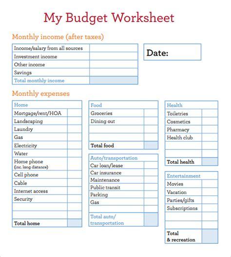 budget worksheet template      excel