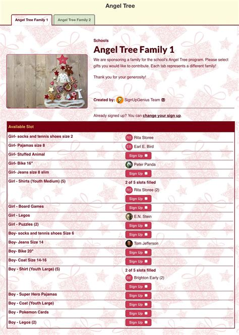 christmas sign up sheet or potluck planning with signupgenius