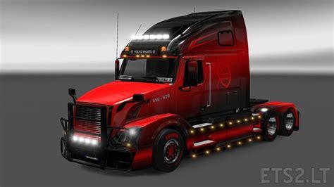 red volvo truck volvo vnl 670 black red skin ets 2 mods