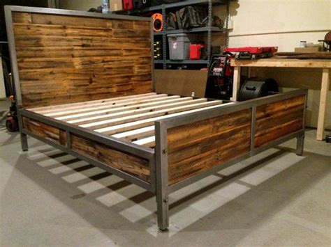 reclaimed wood  steel bed  foundpurpose  etsy