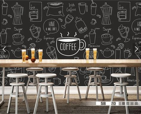 custom retro wallpaper painted coffee theme murals