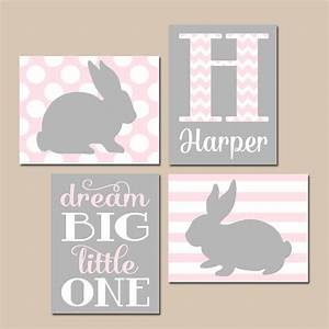 Girl bunny nursery wall art pink gray baby rabbit