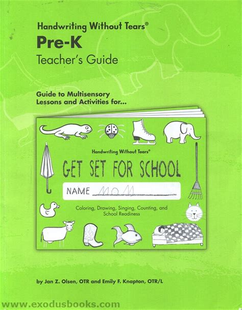 handwriting without tears pre k s guide exodus books 780 | 33592