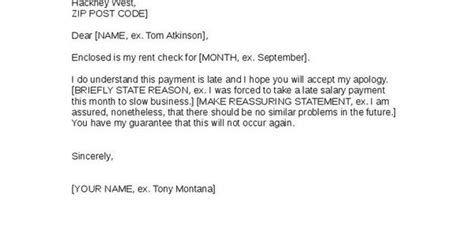 apology  landlord  late rent payment