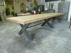Table Industrielle Bois : table industrielle moderne ch ne et m tal pieds en x de 4 m robin sicle ~ Teatrodelosmanantiales.com Idées de Décoration