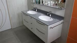 meuble suspendu double vasque en solid surface With salle de bain design avec double vasque en verre