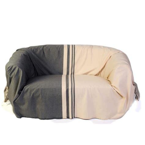 jeté de canapé grande taille jeté de canapé 2 x 3m en coton fouta écru et taupe t2