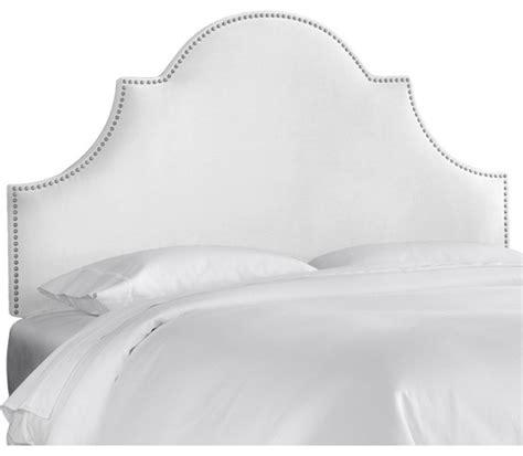 White Velvet King Headboard by High Arch Notched Upholstered Headboard White Velvet