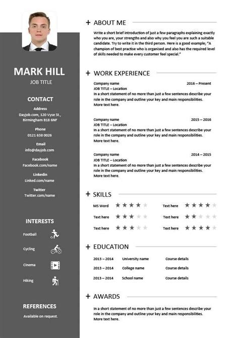Cv Document Exle by Cv Template Designs Resume Layout Font Creative