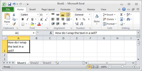 ms excel  wrap text   cell