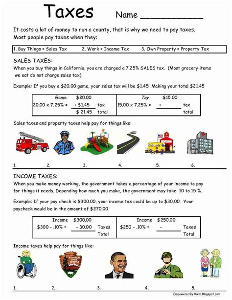 Taxes Worksheet Idea  Kids Education  Pinterest  Worksheets, Kids Education And Math