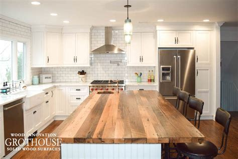 Reclaimed Chestnut Kitchen Island Counter in Sea Cliff, NY