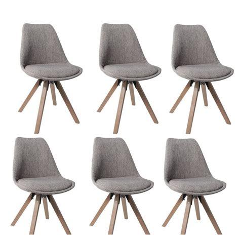 chaise salle a manger tissu lot de 6 chaises de salle à manger scandinave en tissu