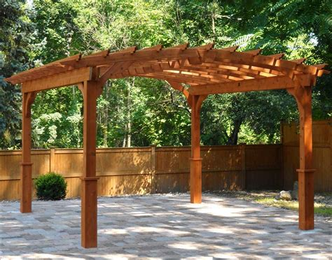 Solid Wood Patio Cover Kits by Red Cedar Arched Garden Free Standing Pergolas Pergolas
