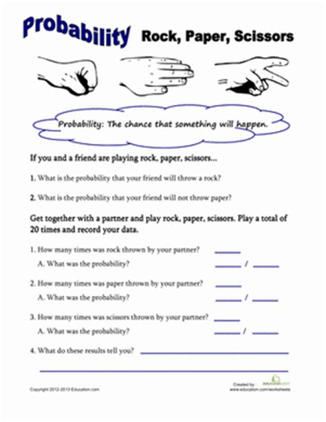 Rock, Paper, Scissors Probability  Worksheet Educationcom