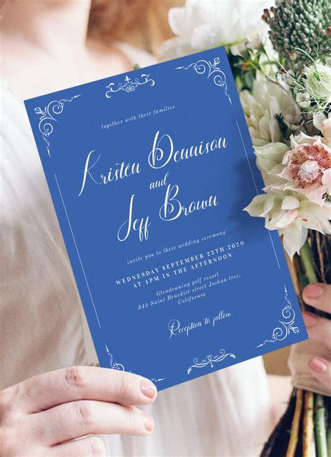 Download Printable Whimsical Scrolls Blue Vintage Wedding
