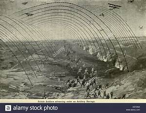 World War 1  Diagram Of British Soldiers Advancing Under A