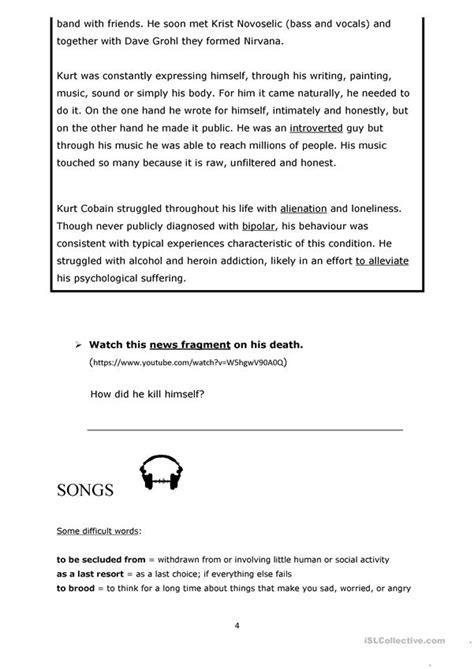 Teen Depression And Anxiety Kurt Cobain Worksheet  Free Esl Printable Worksheets Made By Teachers