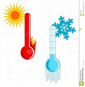 Hot And Cold Weather stock vector. Image of thermometer ...