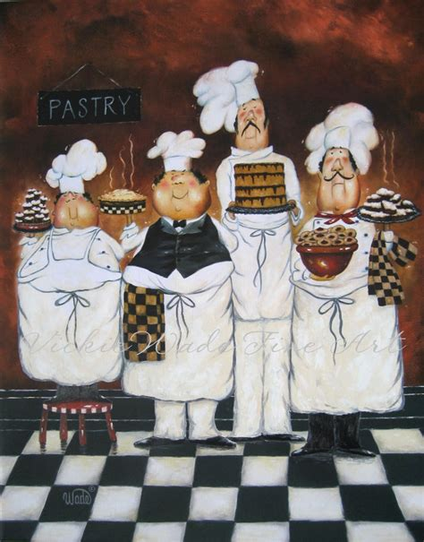 four tall pastry chefs art print fat chef by vickiewadefineart