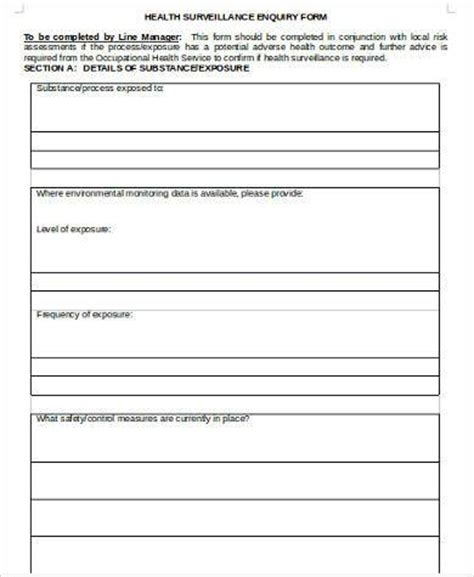 sample health surveillance forms  ms word