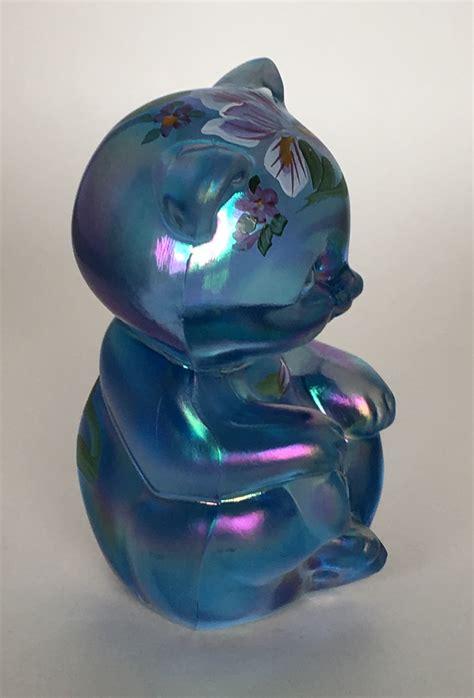 fenton glass ls 5151 ls fenton irises on blue