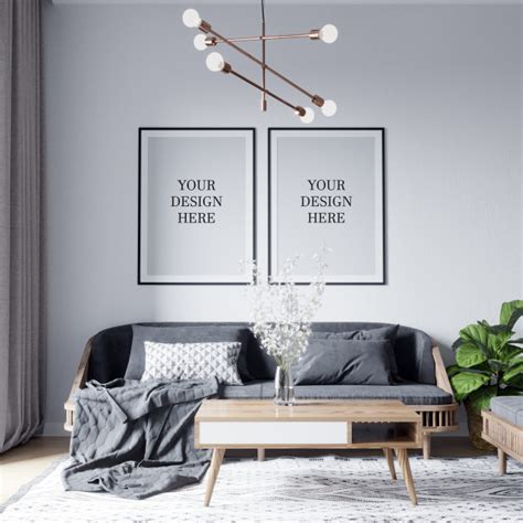 Psd includes smart object to replace combo work. Poster mockup & wall mockup interior scandinavian living room background PSD file | Premium Download