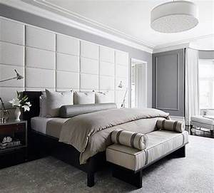 Transitional Interior - Monochromatic Color - Upholstered Wall - Bedroom Furniture