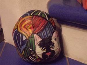 Steine Bemalen Katze : bemalter stein katze pop art kunst erh ltlich bei ebay bemalter stein bemalte steine katzen ~ Watch28wear.com Haus und Dekorationen