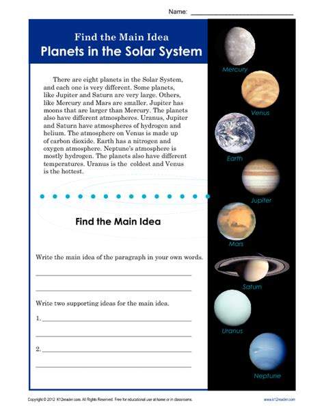 3rd or 4th grade main idea worksheet about planets main