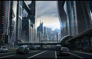 Wallpaper building, the sky, sci fi cityscape, future ...