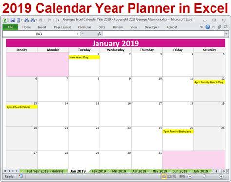 calendar year excel spreadsheet printable digital