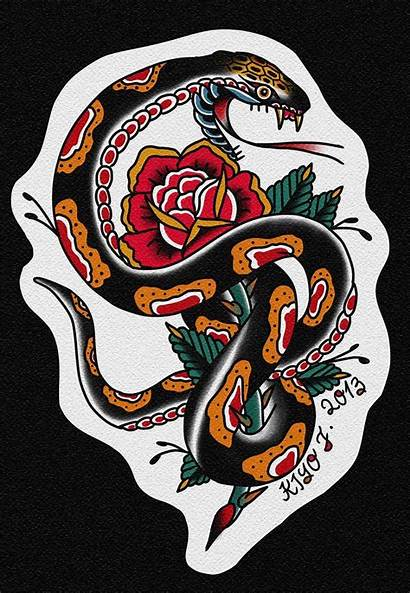 Tattoo Traditional Snake American Tattoos Flash Meaning