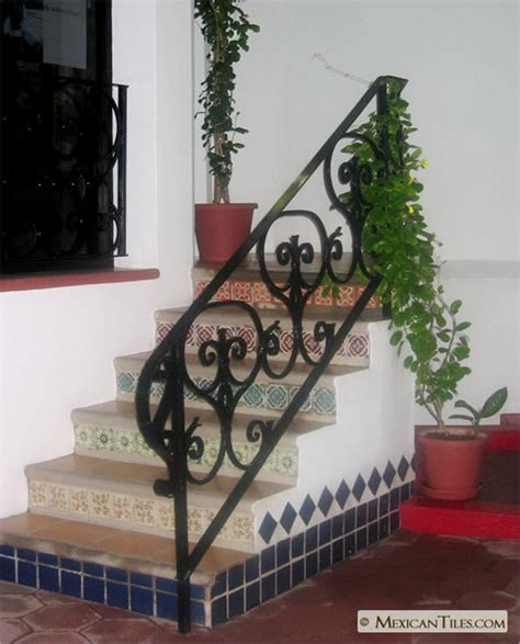 mexicantiles interior stairs risers with decorative