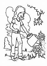 Coloring Watering Preschool Plants sketch template