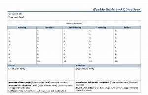 10 best images of weekly agenda template with goals With goals and objectives template excel