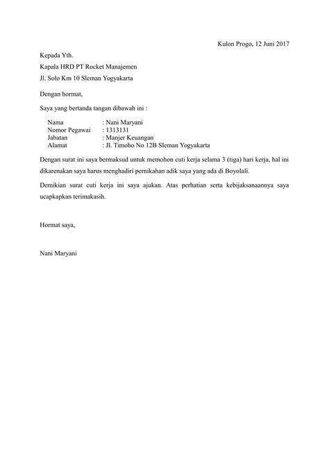 contoh surat cuti menikah surat 10