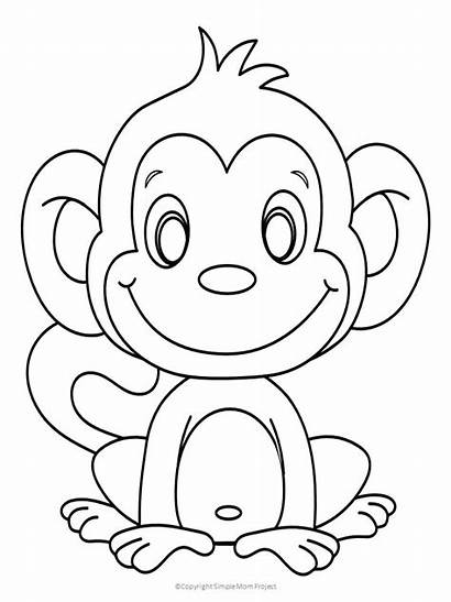 Monkey Coloring Simple Pages Mom Project Toddlers